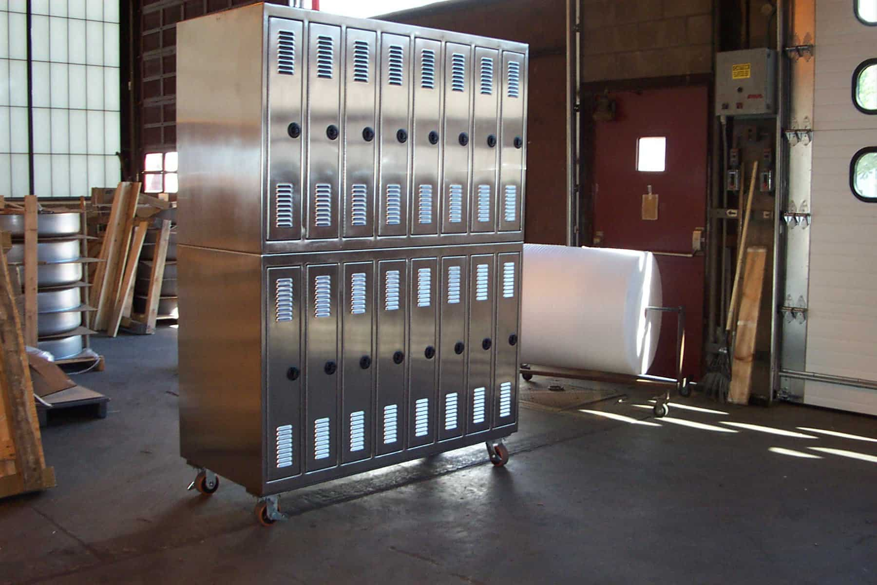 Mobile Stainless Steel Locker Bank