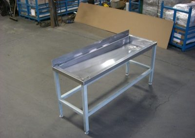 Stainless Steel Sorting Table Sloped to Drain